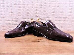 Grenson Mens Shoes Lizard Snakeskin Penny Loafers UK 7 US 8 E 41 Burgundy