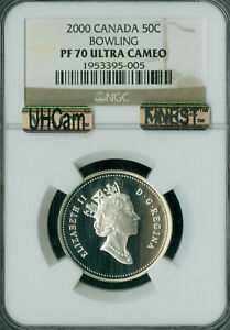 2000 CANADA BOWLING SILVER 50 CENTS NGC PF70 UHCam MAC FINEST SPOTLESS *