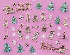 Christmas GOLD Snowflakes Xmas Tree Reindeer Sleigh 3D Nail Art Sticker Decal