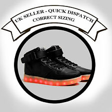 LED Light Up Shoes LED Trainers sneakers Black Hi Tops Unisex