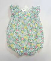 NWT Baby Gap Girls 0 3 6 12 18 24 Months Green Yellow Flower Apron Bubble Romper
