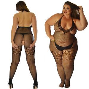 UK 6-28 Deep V Lace Neckline Body Stockings Catsuit Underwear Lingerie Plus