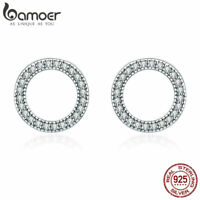 BAMOER S925 Sterling Silver Stud Earrings Round Shape with cz For Women Jewellry