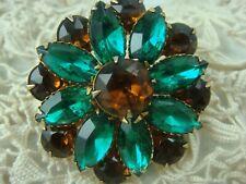 Vintage Green & Amber Rhinestone Gold Tone Cluster Pin Brooch