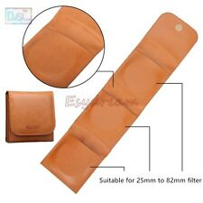 3 Pockets Slots Portable PU Leather Wallet Pouch Bag for 25 to 82mm Lens Filter