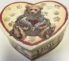 """VALENTINES GIFT Box 4"""" Heart Shaped Boyd's Bears Vintage 1997 How Do I Love Thee"""