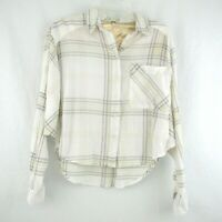 Free People Womens Cream Plaid Blouse Shirt Batwing Sleeve Button Front Size S