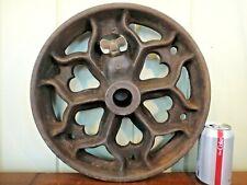 Single Vintage Industrial Cart Wheel - Large Antique Cast Iron Heart -Round Base