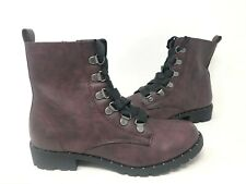 NEW! SO Women's Sugar Maple Lace Up Zipper Combat Boots Wine #214784 195AB tk