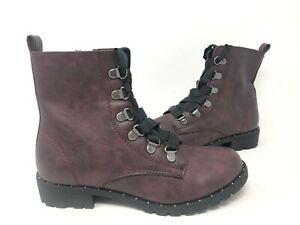 NEW! SO Women's Sugar Maple Lace Up Zipper Combat Boots Wine #214784 195AB tk