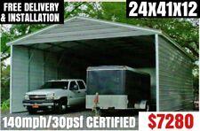 Metal Building Carport RV Cover Pole Barn Steel Garage Utility Shed Car Canopy