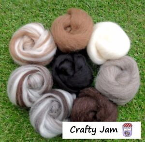 Needle Felting Natural + Pure Black Ideal for Animal Projects, Felting Wool 53g