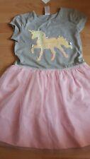 Sommer Kleid mit Wendepailletten Einhorn Tüllrock 116 NEU