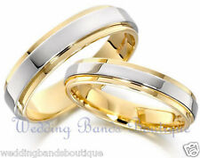 18K WHITE YELLOW GOLD HIS & HERS MATCHING  WEDDING BANDS MEN'S WOMEN'S RINGS SET