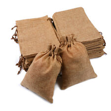 25/50/100x Burlap Wedding Favor Bags Linen Jewelry Pouches Jute Hessian Gift Bag