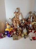 Lot of 11 Beautiful Porcelain Harlequin Jester  Dolls And Music Boxes. Used