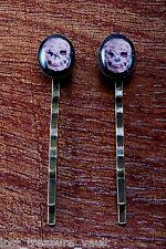 LTV Creation Bobby Pin Pair Flower Skull Design Glass Top Hair Pin Accessory