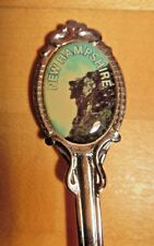 Old Man of the Mountain Souvenir Spoon Silver Tone w Color Photo New Hampshire
