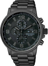 Citizen Men's Black Stainless Steel Eco-Drive Chron Black Dial Watch CA0295-58E