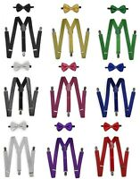 Adult Unisex Glitter Sequin Combo Clip-on Suspender and Bow Tie Adjustable