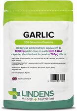 Garlic 1000mg 200 Odourless Capsules Blood pressure Cholesterol heart Lindens UK