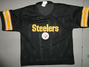 Vintage Black Franklin Pittsburgh Steelers Football NFL Screen Jersey Youth S
