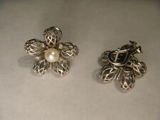 Gorgeous 14K White Gold Pearl Diamond Filigree Lace Floral Earrings