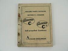 Parts Catalog Allis Chalmers Combines Model C C2 Self Propelled Gleaner VTG 1967