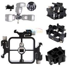 Black Triple hot Shoe Mount Adapter Umbrella Holder FlashLight Stand Bracket
