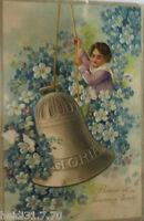 """ New Year, Children, Bell, Flowers "" 1909, Embossed Postcard (17857)"