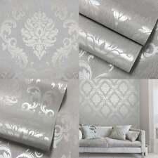 2 Rolls of Home Decor 'pure' Metallic Glitter Damask Wallpaper Soft Grey Silver
