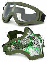Protection Steel Mesh Airsoft Mask and Goggles Set Tactical Paintball Equipment