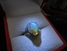 LARGE Lovely Shimmering Colors 14K Opal And Diamond Ring-Size 7.5