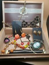 vintage statement jewelry Lot And Cigar Box
