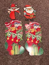 Vintage Christmas Cardboard Cut Outs Santa Stockings Decorations Holiday XMas
