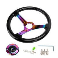 """14"""" 350mm Wood Black Grain Steering Wheel 6 Bolts 3"""" Depth Neo Chrome Spoke Horn"""