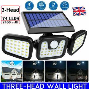 74 LED Solar Power PIR Motion Sensor Lamp Outdoor Garden Security Wall Light UK