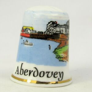 COLLECTABLE CHINA THIMBLE 'ABERDOVEY' WALES BY BIRCHCROFT