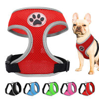 Soft Mesh Dog Cat Harness No Pull Padded Vest Paw Printing for Cats Small Dogs
