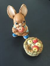 Pendelfin Rabbit Scrumpy And Apple Barrel Hand Painted Stoneware Made In England