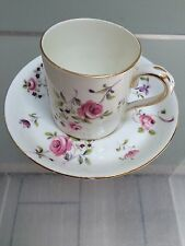 Crown Staffordshire Cup Saucer Handpainted Pink Rose Pattern dates 1906-29