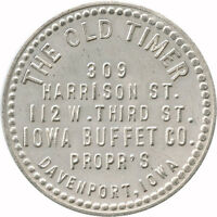 The Old Timer Iowa Buffet Co. Propr's Davenport, Iowa IA 25¢ Trade Token