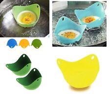 4 Silicone Egg Poacher Easy Clean Poach Eggs Kitchen Gadget Poaching Pan Cook