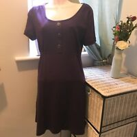 Pussycat London Purple Knitted Short Sleeved Jumper Dress Buttons Size M VGC