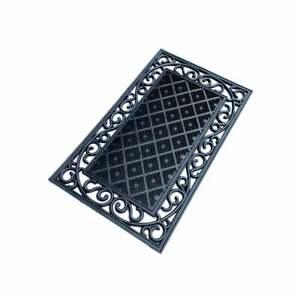 Black Cast Iron Style Rubber Door Mat Black Ramp Outdoor rug 45cmx75cm