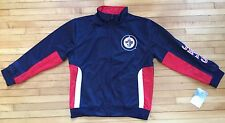 NWT Youth Size Large Winnipeg Jets Tricot Track Jacket Navy Blue Red Zipper