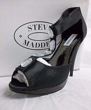 Steve Madden Size 9.5 M Fancii Black Satin Open Toe Heels New Womens Shoes