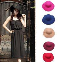 Vintage Women's Ribbon Wide Brim Wool Felt Bowler Fedora Hat Floppy Cloche