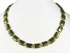 Unusual Precious stone necklace made of gemstones Pyrite in Rectangular shape