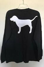 New Victorias Secret Pink Dog Graphic Long Sleeve Campus Crew Tee T Shirt Medium